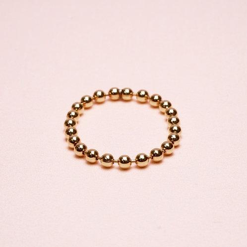 9k Shiny Ball Chain Ring