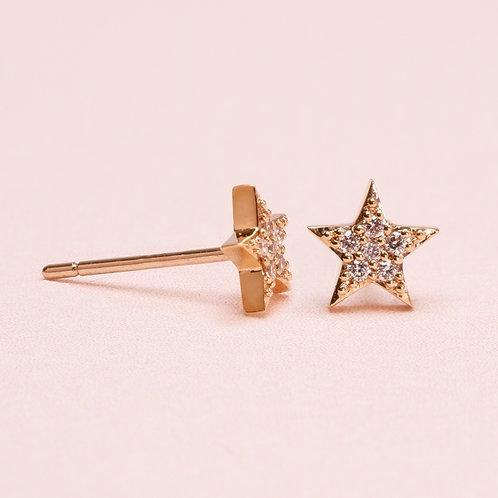 14K Star Diamond Stud Earring