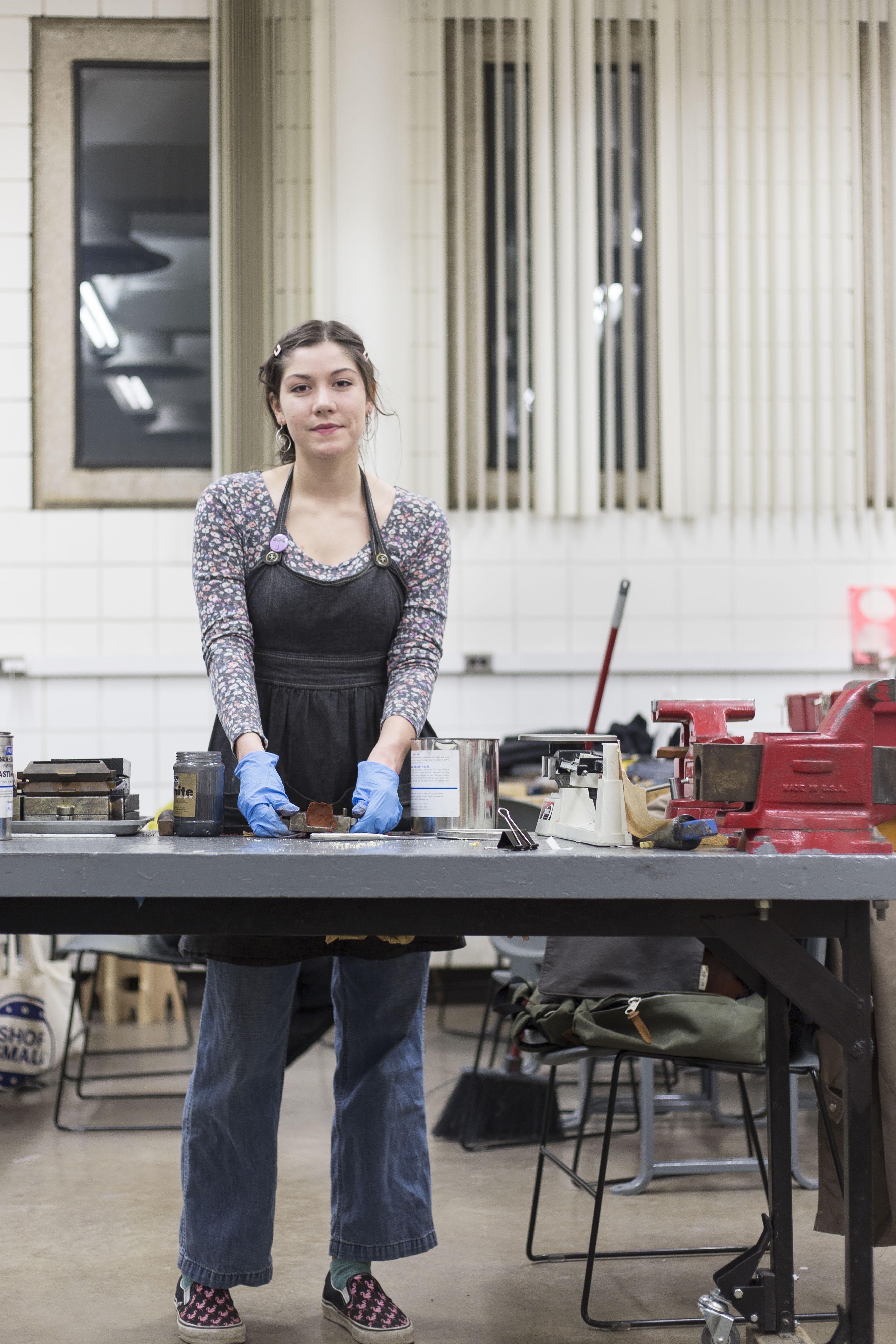 Sarah O'Heron working in Metals Lab
