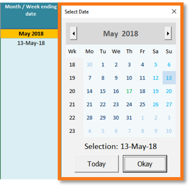 Shows how to add excel calendar