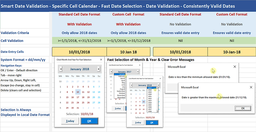 Smart Date Example Basic Validation Scre