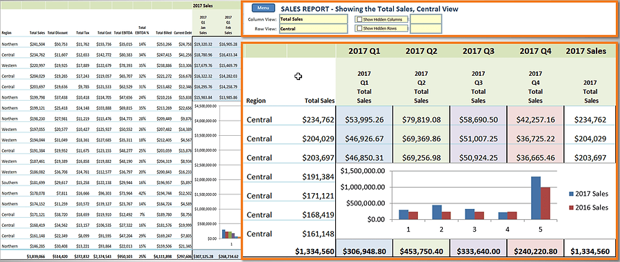 Filtered view of a spreadsheet