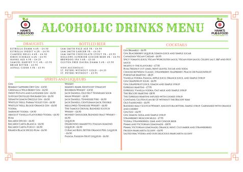ALCOHOLIC DRINKS MENU