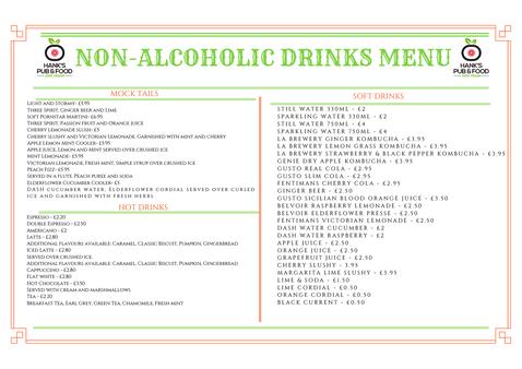 NON-ALCOHOLIC DRINKS MENU