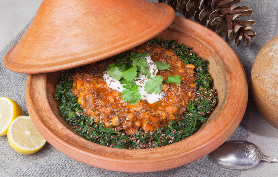 Vegan Ski Holidays - Chickpea and Sweet Potato Tagine at Chalet Rosière