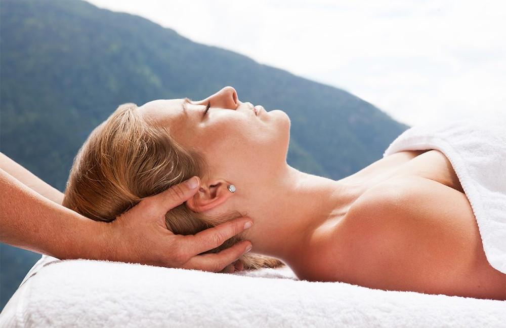 A guest enjoying a massage at Chalet Rosière