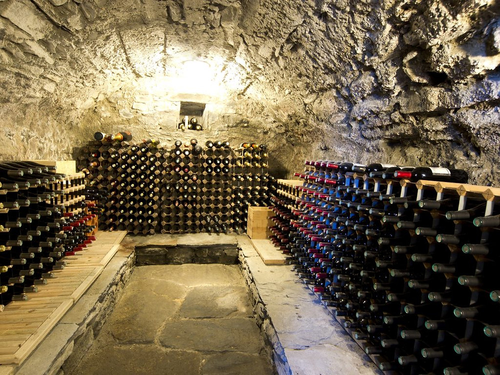 The wine cellar at Chalet Rosière, available to book for last minute ski deals