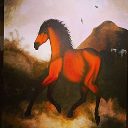 Evil horse was fun to paint_Acrylic on canvas 3x4ft_Sold_#artist #acrylicpainting #artist #painting