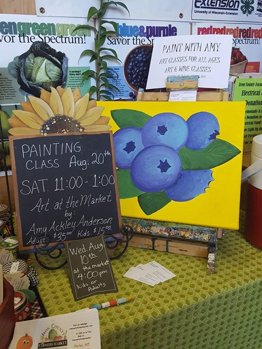 Fun painting this blueberry painting at the Iron county Fair at the farmers market booth