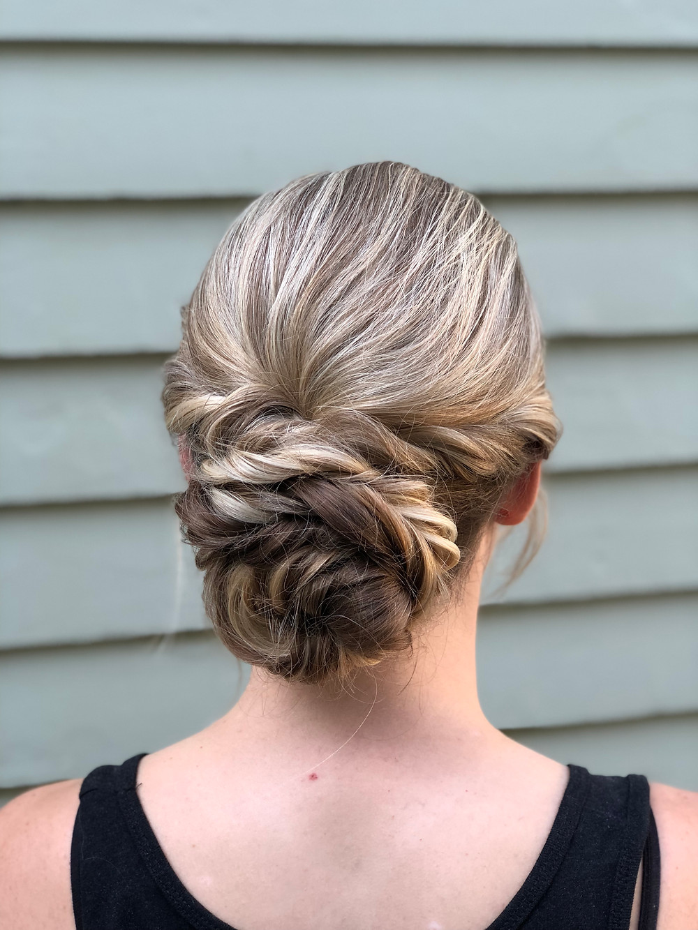 bridesmaid, updo, modern minimalist