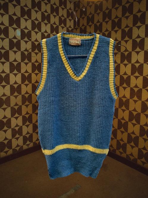 Tricot en laine sans manche bleu et jaune