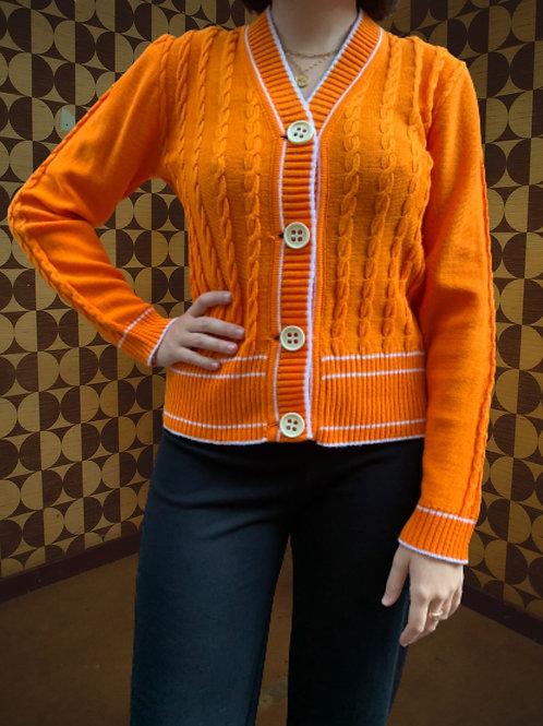 Cardigan orange et blanc