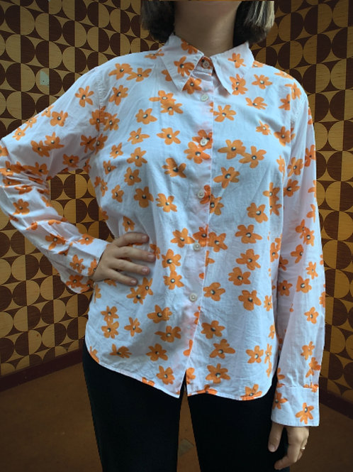 Chemise fleuris blanche et orange