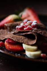 Chocolate crepes with fresh fruits | food photography