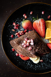 Chocolate crepes with frest fruits | food photography
