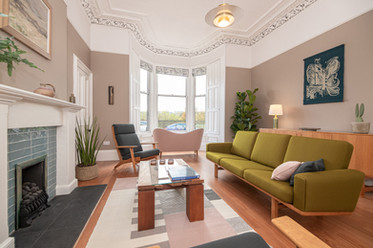 Bright Living room with oryginal fireplace. Edinburgh| interior photography