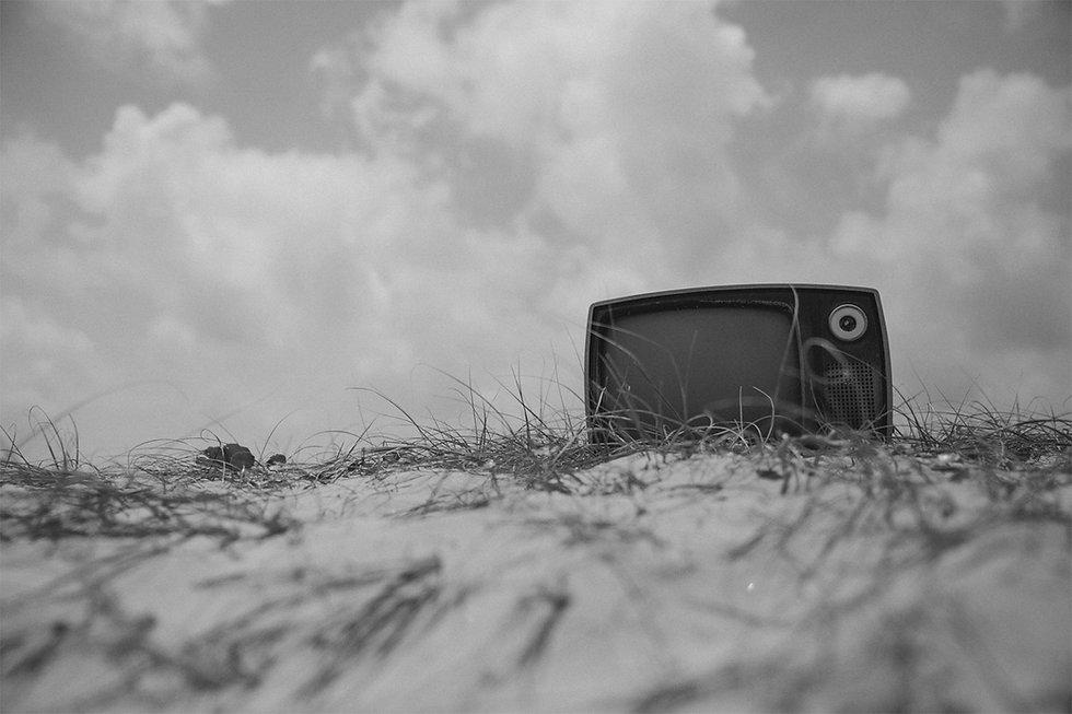 small telelvision in empty field