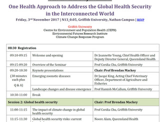 One Health Day (3rd Nov) at Griffith University!
