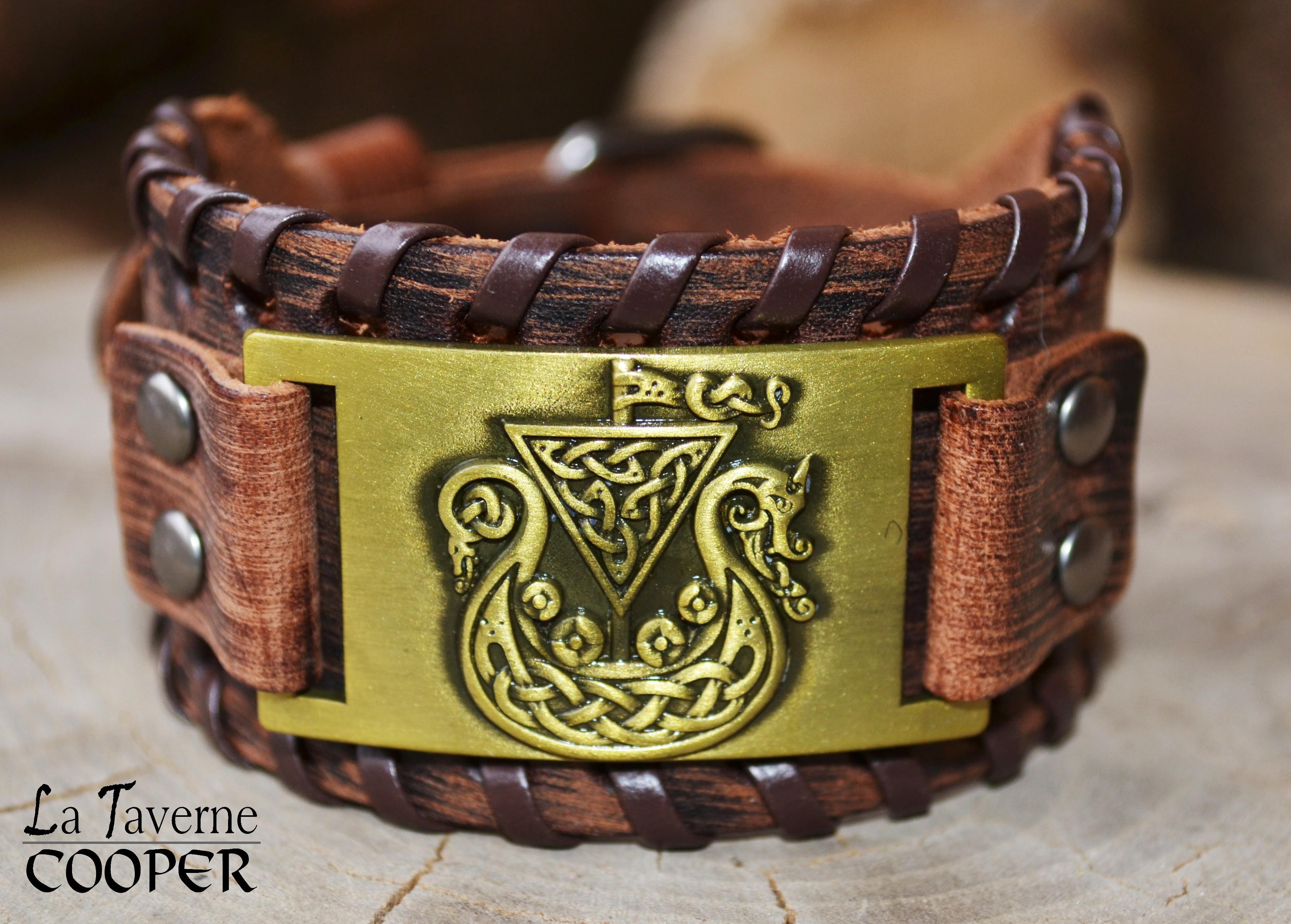 Bracelet en cuir Drakkar