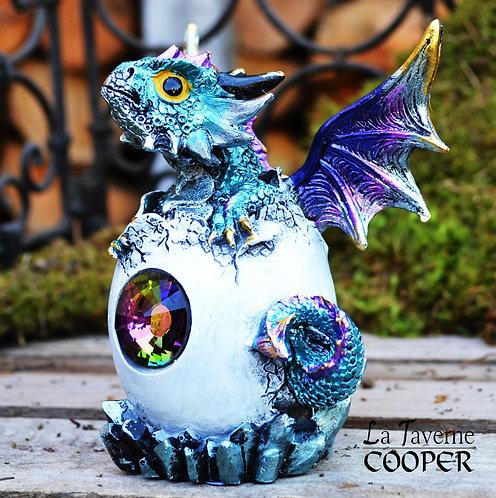 Dragon œuf avec cristal (bleu)