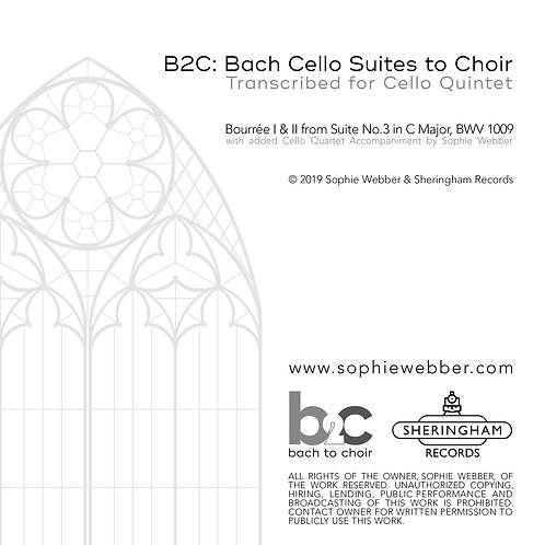 Bourree I & II~Bach Cello Suite No.3 in C Major+ New Cello Quartet Accompaniment