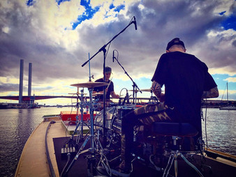 Drums on a boat