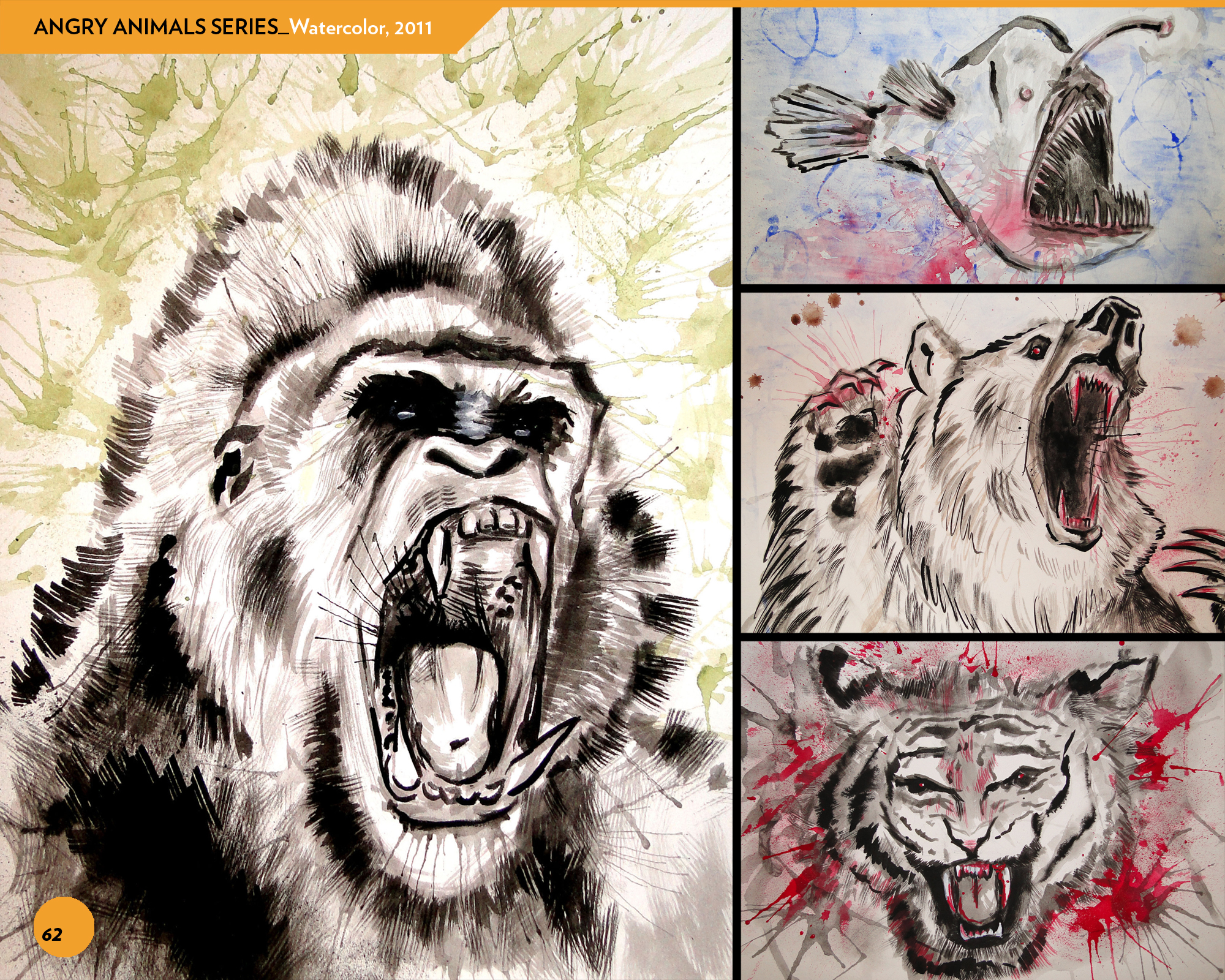 WATERCOLOR SERIES_ANGRY ANIMALS