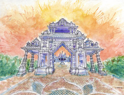 Hindu_Temple_Watercolor_By_Cody_Gatlin