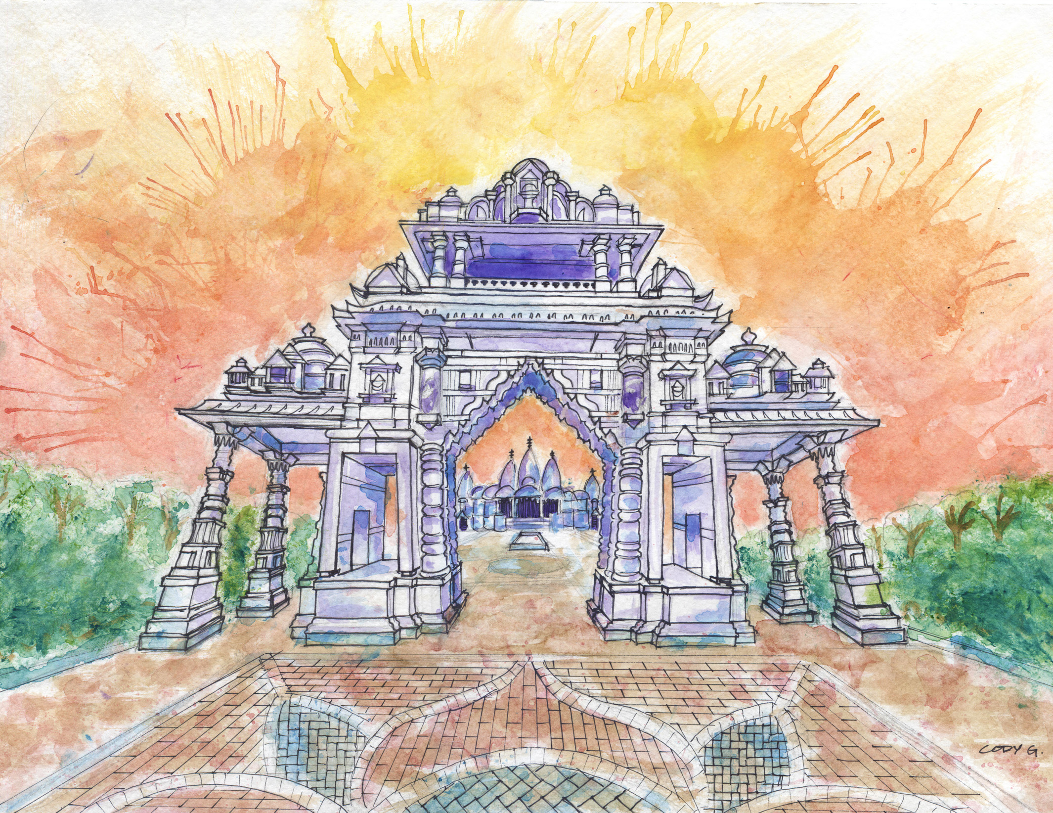 Hindu_Temple_Watercolor_By_Cody_Gatlin