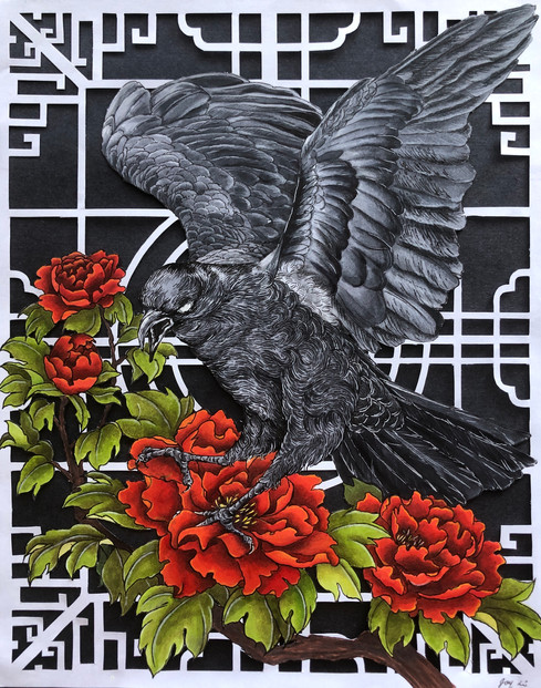 Crow and Peonies