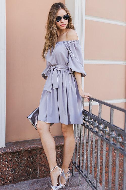 Платье со спущенными плечами мини