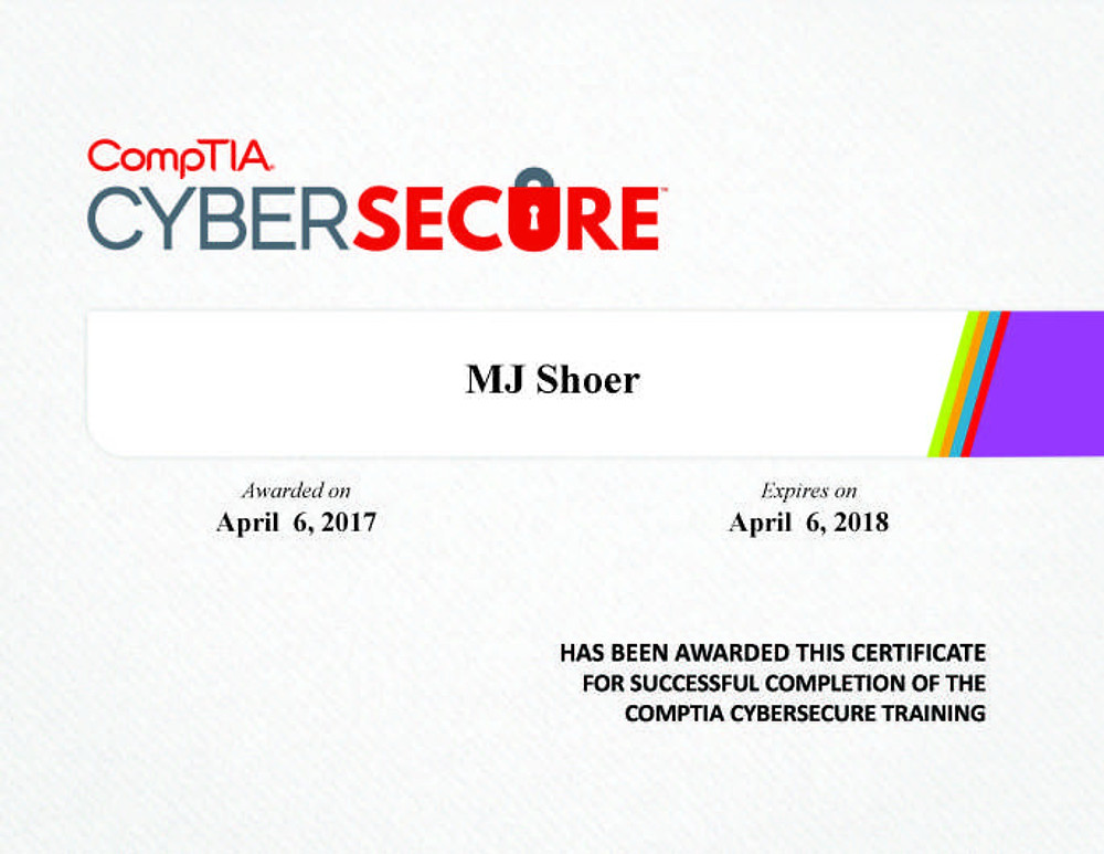 CompTIA Completion Certificate - MJ Shoer