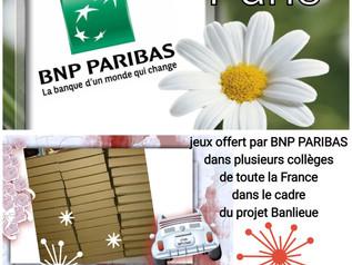 Bnp Paribas: 43 jeux offerts à des  collèges &écoles de la deuxième chance dans toute la France