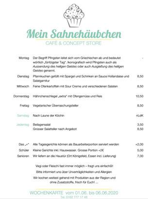Wochenkarte nach Pfingsten - 01.06. bis 06.06.2020