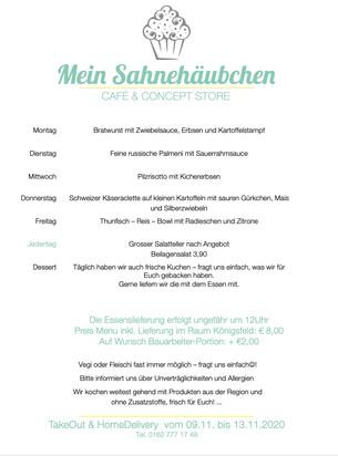 Sahnehäubchen TakeOut und HomeDelivery Menü vom 9. bis 13. November