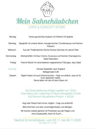 Sahnehäubchen TakeOut und HomeDelivery Menü vom 2. bis 6. November