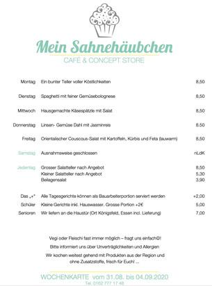 Die Menükarte vom Mo, 31. August bis Fr, 4. September