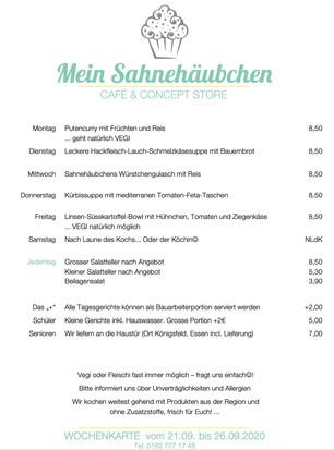 Mittagessen im Sahnehäubchen in der Woche 21. bis 26. September...