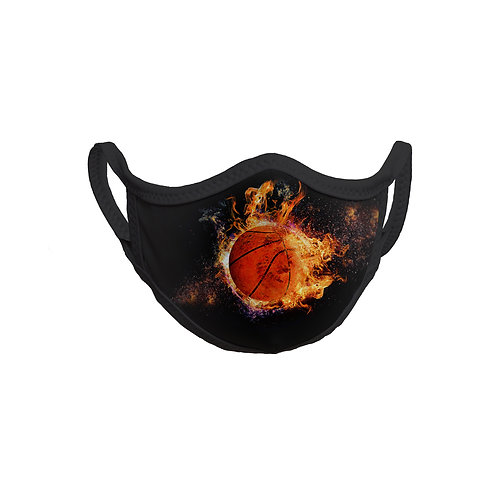 FaceItMasks | Solid Black with basketball image face mask