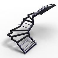 металлическая лестница с забежными ступенями с поворотом 180