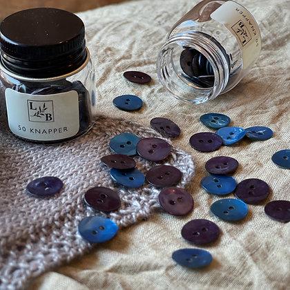 Perlemorknapper blåtoner 12mm (50 stk)