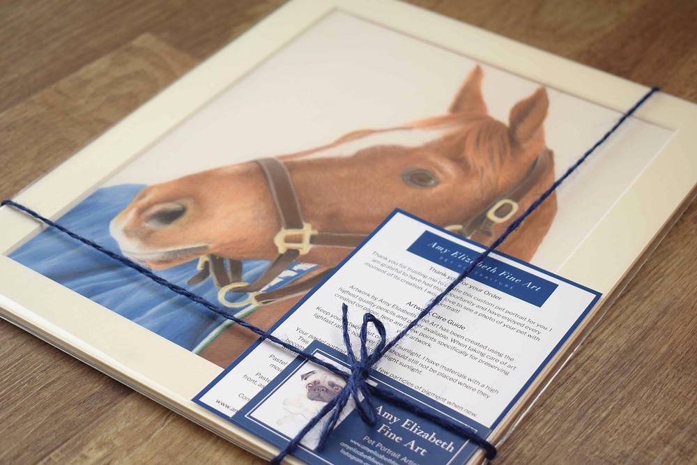 A horse portrait of a chestnut horse, along with material from Amy Elizabeth Fine Art