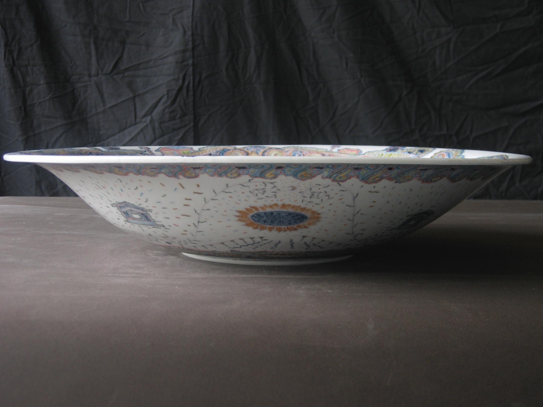 釉下彩大皿 横から