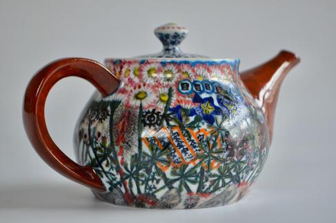 色急須「安全安心」China painting teapot[safe and secure]