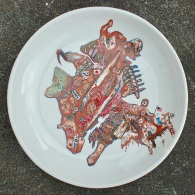 色絵大皿「軍馬」Over glaze large plate [Warhorse]