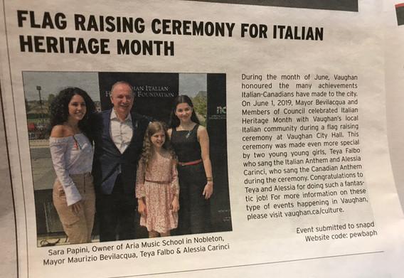 Italian Heritage Month Flag Raising 2019