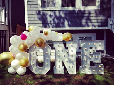 First Birthday Decorations rental_ONE Big Light Up Marquee Letters_Balloon Decorations_Chi