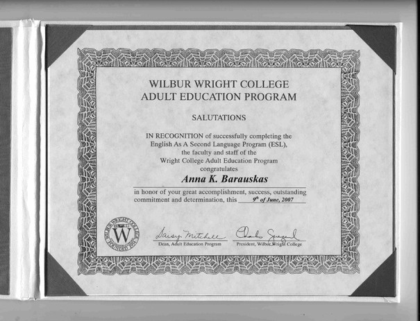 Wright College Diploma