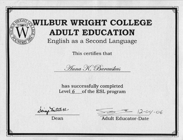 Anna's ESL diploma