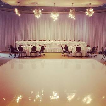 Head table backdrop_pipe and drape_white vinyl dance floor_weddin rental_Chicago_ Yellow S